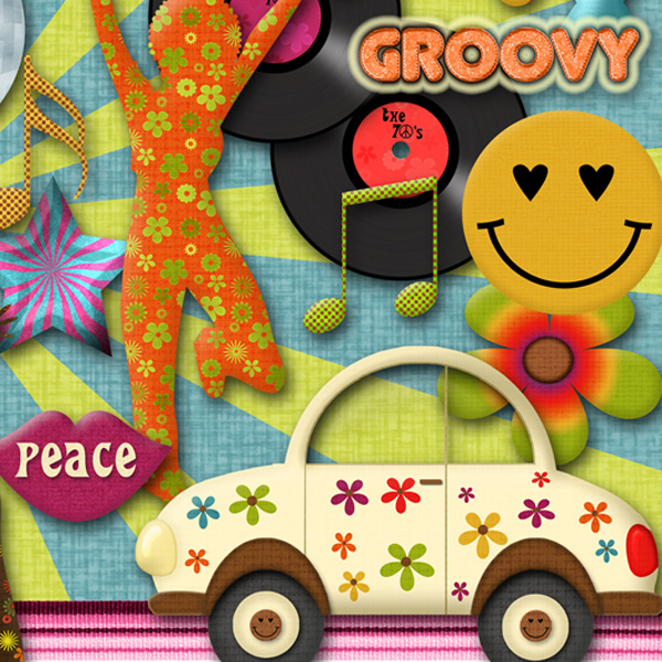 The Groovy 70 S Digital Scrapbooking Kit 183 Linda S Digi