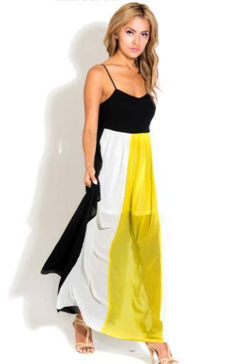 Black and Yellow Colorblock Maxi Dress · Southern Charm Designs ...