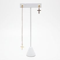 Hi-Low Cross Earrings