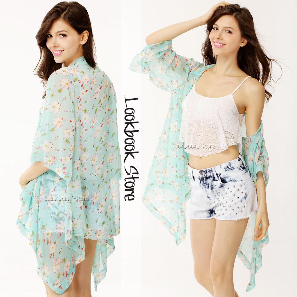 Free Shipping} Floral Sky Blue Kimono Flowy Cardigan · milky ...