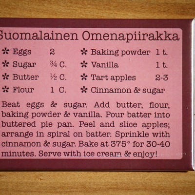 Recipe magnet suomalainen omenapiirakka / finnish apple pie