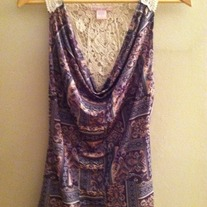 Paisley Crochet Back Tank Top