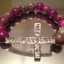 Sideways Cross Bracelet with Purple and Gray Agate Beads
