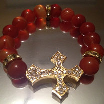 Gold Sideways Cross Bracelet with Burnt Orange Beads