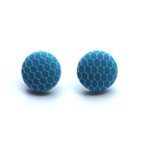 Turquoise net - button earrings