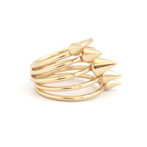 Gold Spiral Spike Ring