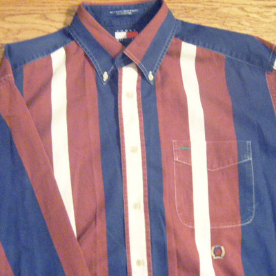 Tommy hilfiger stripped button up - blue/burgundy