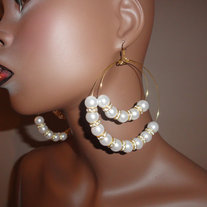 Large Gold Hoops with Acrylic Pearls and Clear Rhinestone Beads