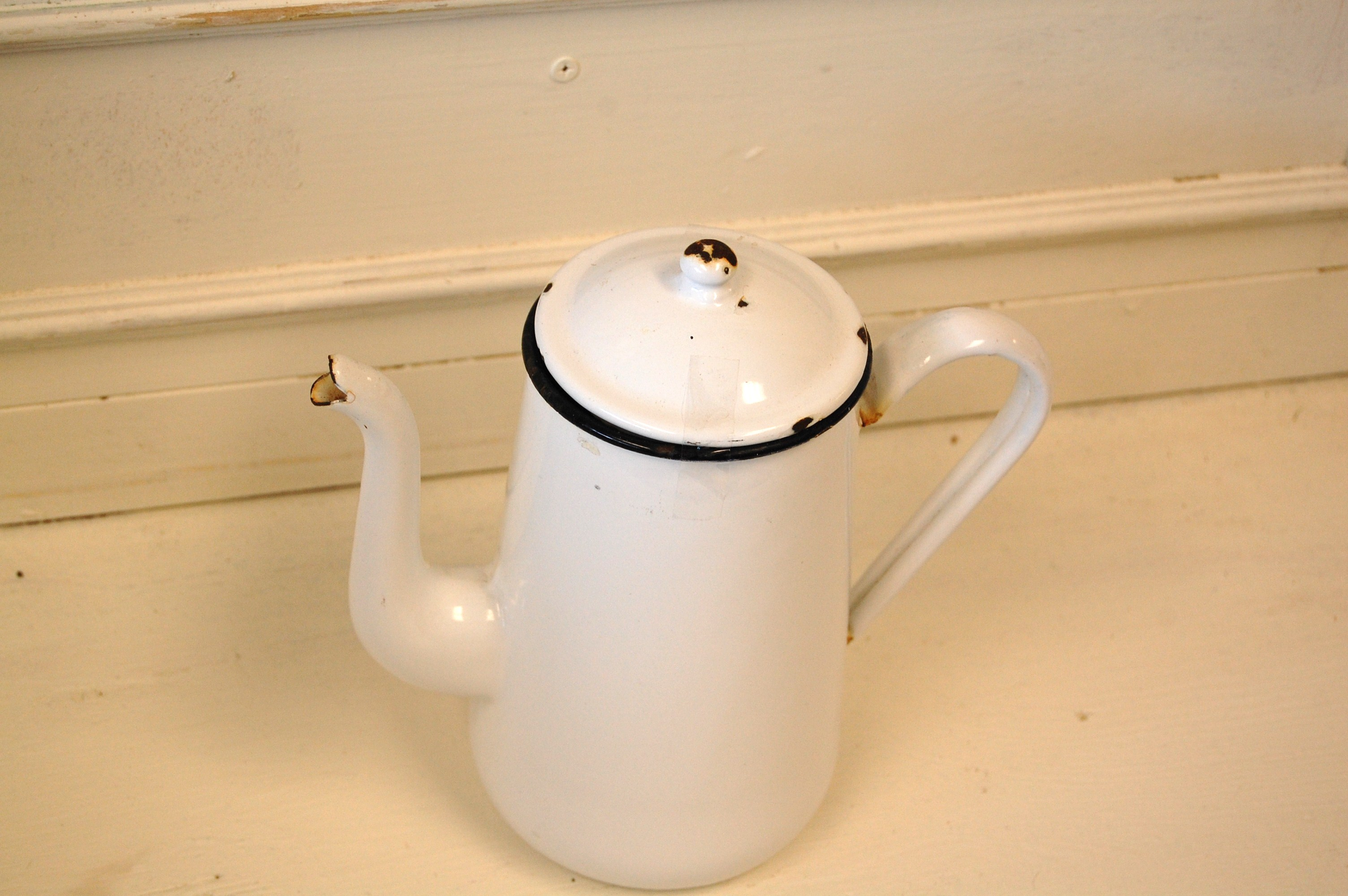 Small Black And White Vintage Enamel Teapot With Lid