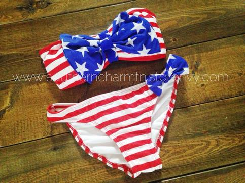 Patriotic Red White And Blue Bow Bikini Southern Charm