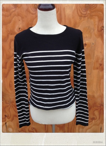 Striped Sweater With Elbow Patches Black Or Navy Blue Frans Like