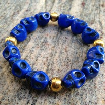 Navy Skull Bracelet With Spacers