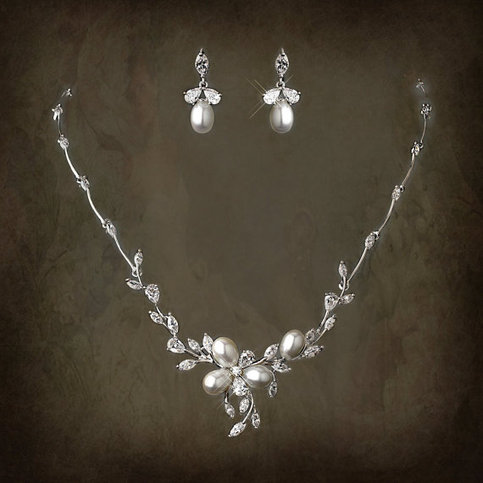 Cubic zirconia pearl bridal jewelry set lucyalia 39 s for Bridesmaid jewelry sets under 20
