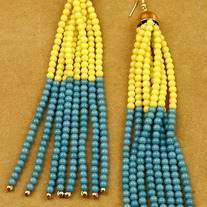 Beaded Ambre Earrings - Various Colors