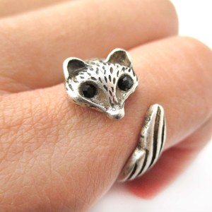 Super Cute Fox Wrapped Around Your Finger Animal Ring in Silver | Size 6 and 7