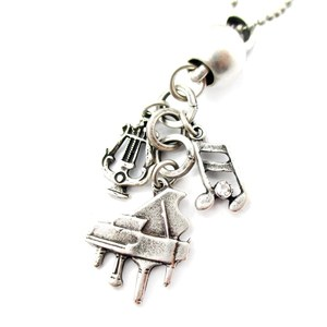 Music Themed Piano Harp Musical Notes Charm Necklace in Silver