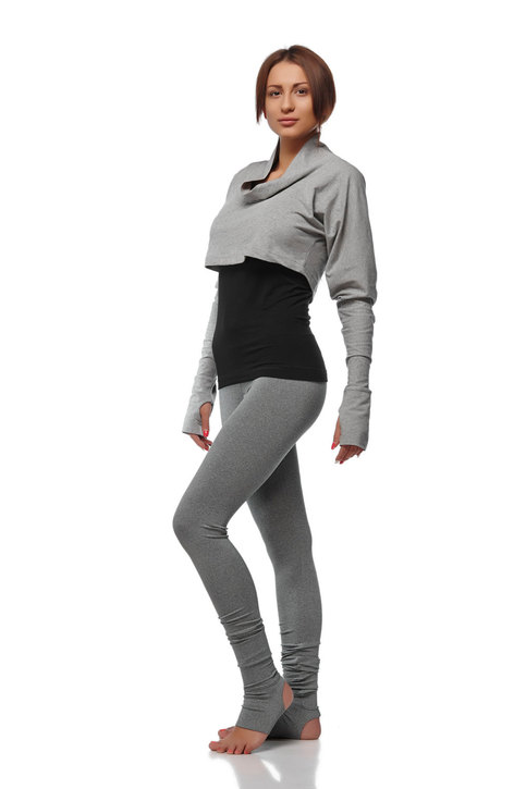 Yoga Pull Over Bolero Cropped Extra Long Sleeves Top