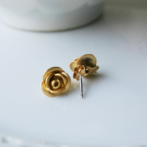 Mini Rose Post Earrings - Silver or Gold