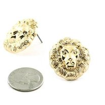 Big Lion Head Gold Earrings