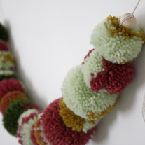 Mint & Berry Pom Garland - OOAK - Comes in Handmade Bag