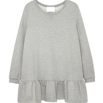 Loose Gray Ruffle Hem Dress