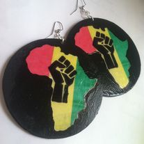 Red Gold & Green Africa Earrings