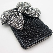 Black Shimmer Bow Case (iPhone 4/4s)