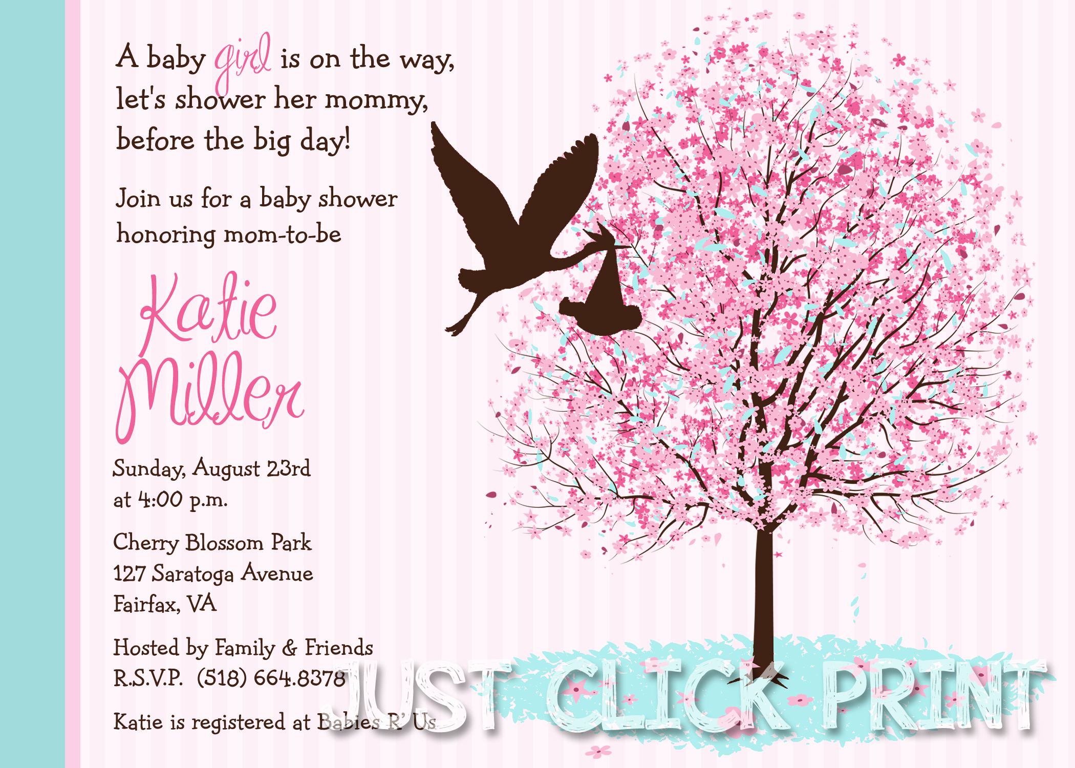 Cherry Blossom Tree Baby Shower Invitation Printable · Just Click ...
