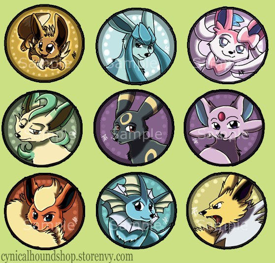 Pokemon Eevee Evolution Buttons