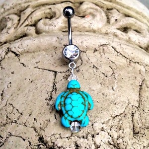 Turquoise Sea Turtle Belly Ring