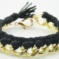 Black braided with gold chain bracelet