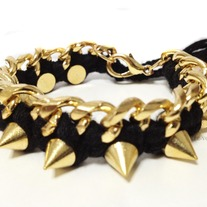 Gold spikes braided with gold chain - Bracelet