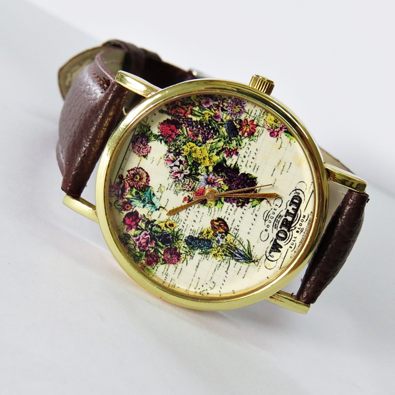 The World in Full Bloom Map Floral Watch, Vintage Style Leather ...
