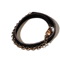 Delicate suede brass bracelet in black (double layer)