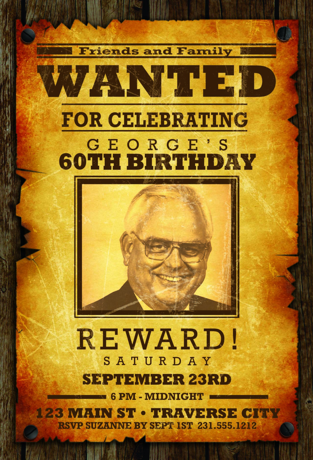 Wanted Poster Invitation - Western Cowboy Wanted Poster Adult ...
