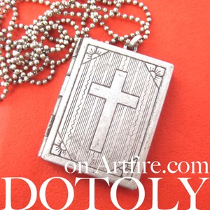 Bible Locket Pendant with Cross Necklace in Silver