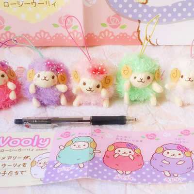 (7cm) wooly the sheep girly rosy series keyring strap with curly fur from the amuse company who produce arpakasso alpacasso  (7cm)