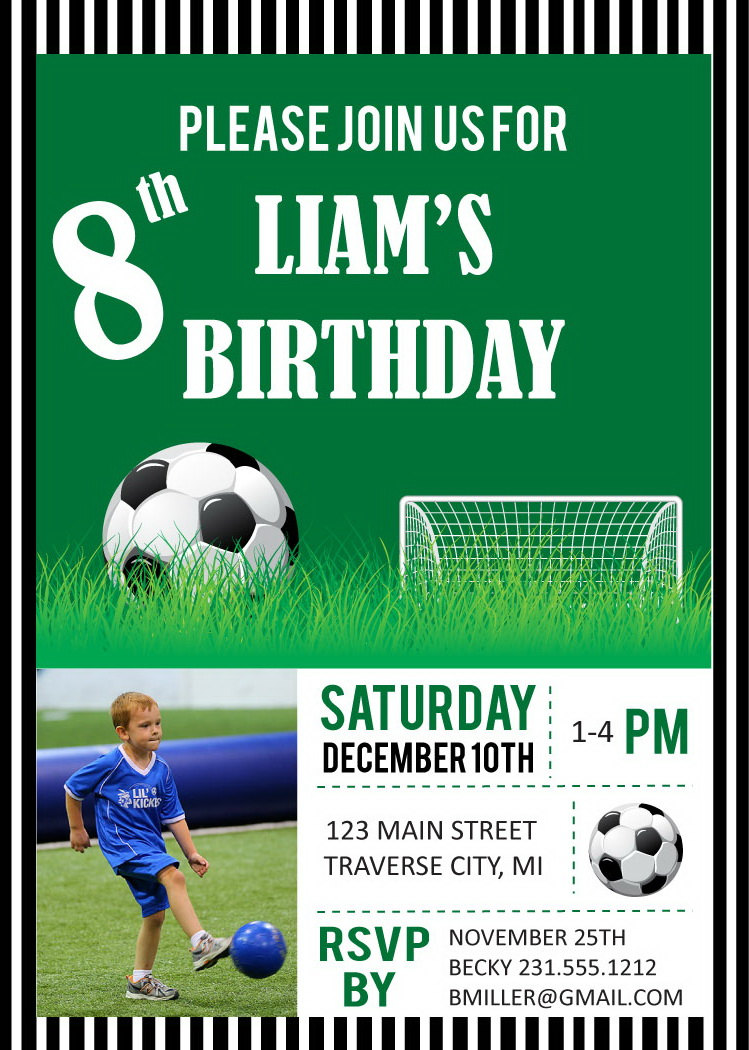 Soccer Photo Birthday Party Invitations - Digital File DIY Printable ...