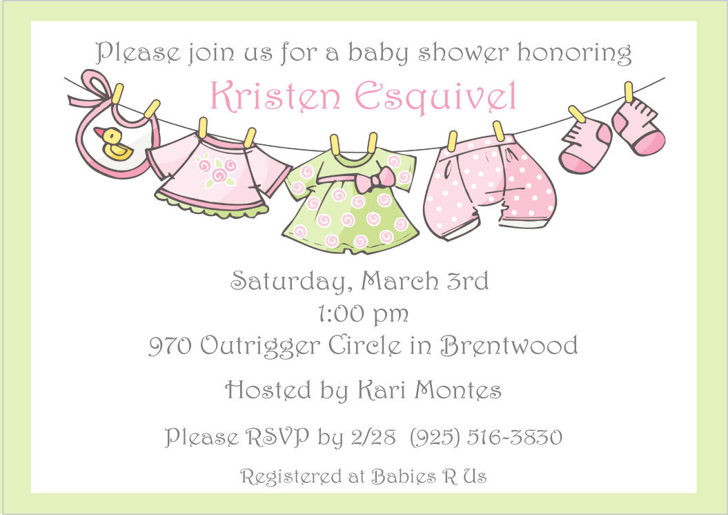 Girl clothesline baby shower invitations pink and green printable girl clothesline baby shower invitations pink and green printable file filmwisefo