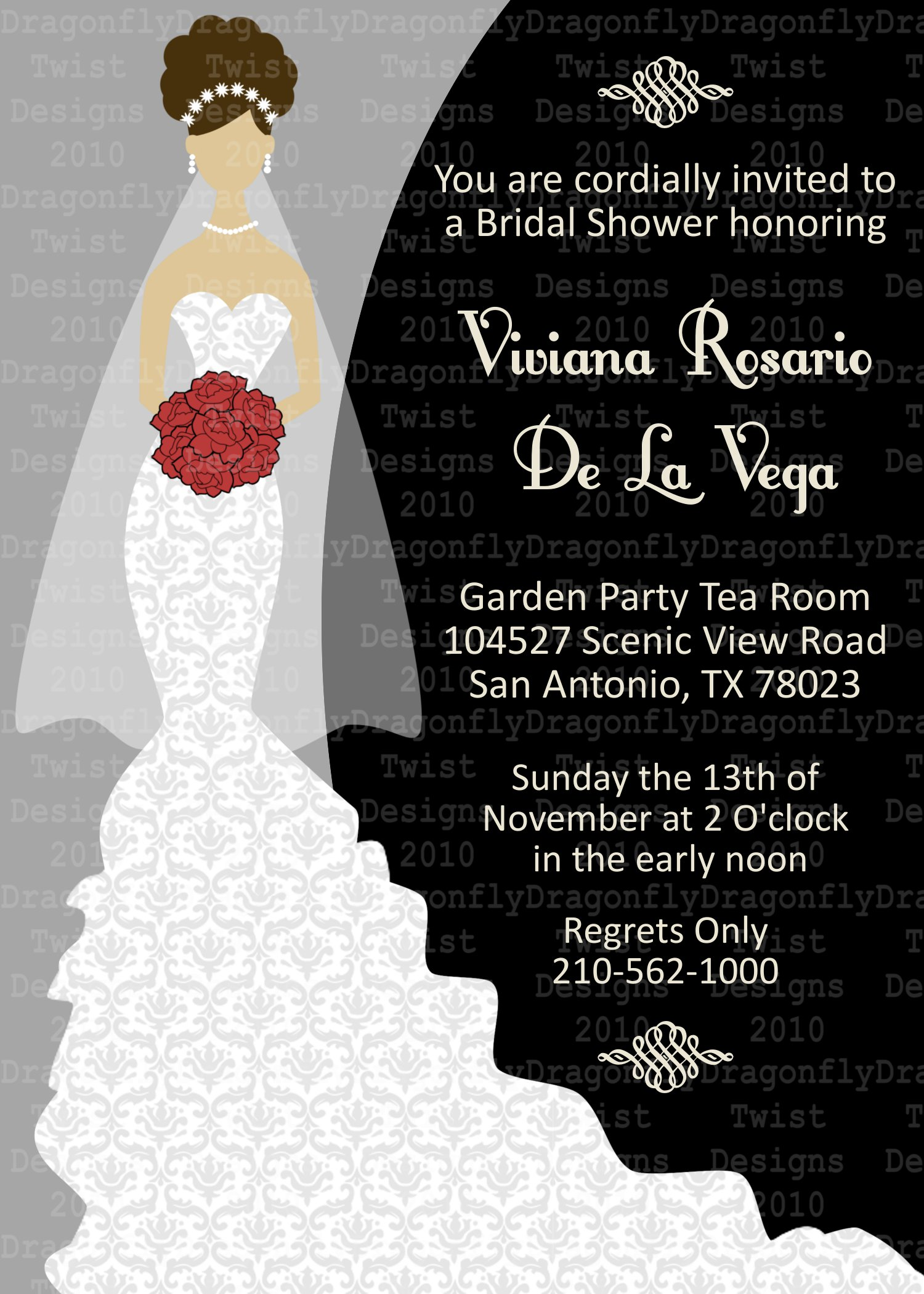 J & G Design Studio | Bridal Wedding Shower Party Invitation 5x7 or ...