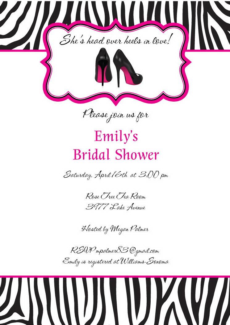Zebra bridal shower invitations stiletto shoes wedding shower zebra bridal shower invitations stiletto shoes wedding shower invitation filmwisefo