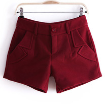 Red wool shorts
