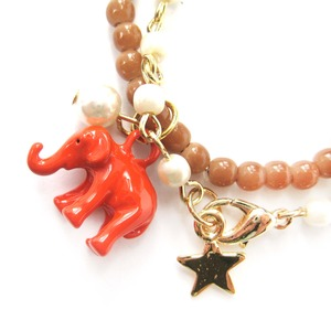 Elephant Animal Stretchy Bracelet in Bright Orange on Brown with Pearl