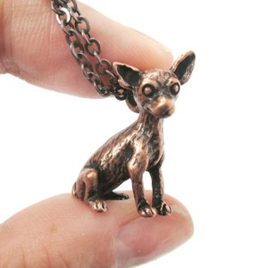 3D Realistic Chihuahua Animal Charm Dog Breed Inspired Necklace in Copper