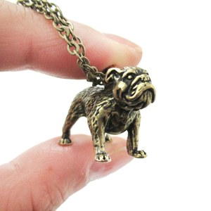 3D Realistic Bulldog Puppy Dog Lover Animal Charm Necklace in Brass