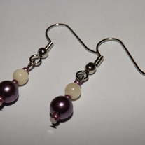 Mother of Pearl and Plum Earrings