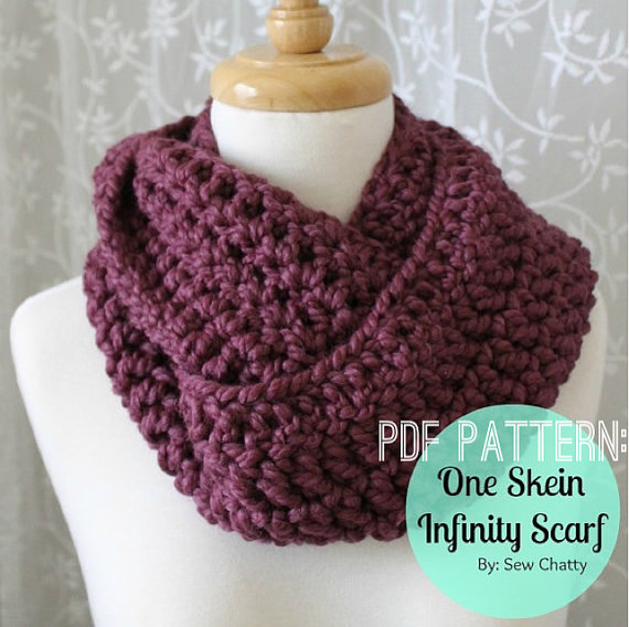 Crochet Patterns One Skein : PDF PATTERN/INSTRUCTIONS One Skein Infinity Scarf - Thumbnail 1