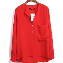 Red High Low Blouse