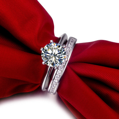 2 ct nscd sona simulated diamond round brilliant cut solitaire wedding engagement ring with channel set - Solitaire Engagement Ring With Diamond Wedding Band