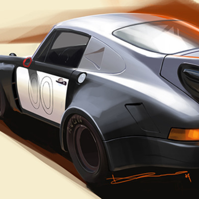 "00 porsche 911 rsr 19""x13"" digital painting"